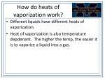how do heats of vaporization work