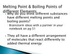 melting point boiling points of different elements