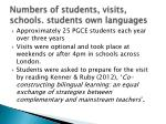 numbers of students visits schools students own languages