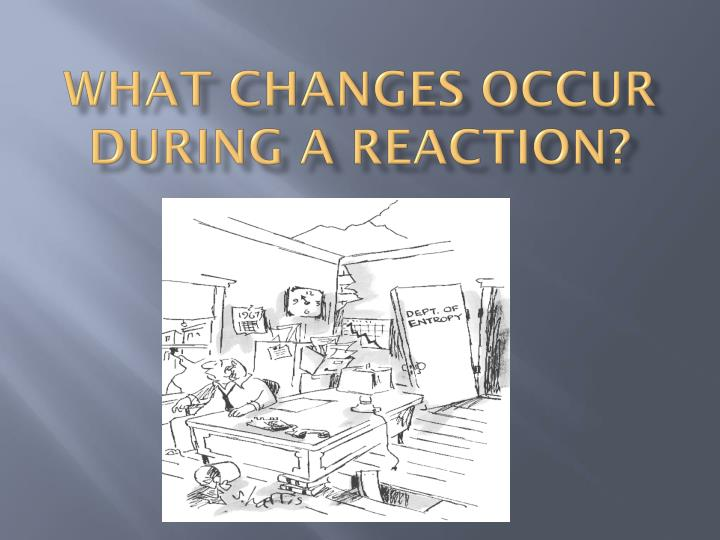 what changes occur during a reaction n.
