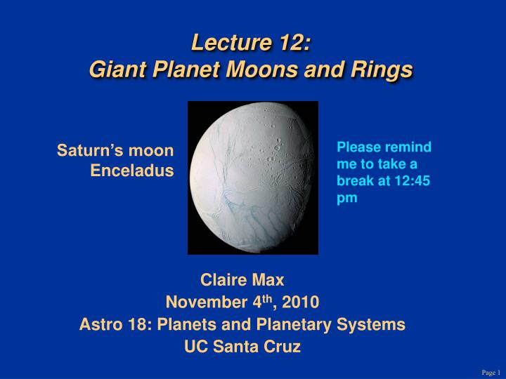 lecture 12 giant planet moons and rings n.