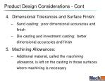 product design considerations cont