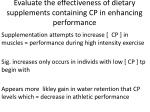 evaluate the effectiveness of dietary supplements containing cp in enhancing performance