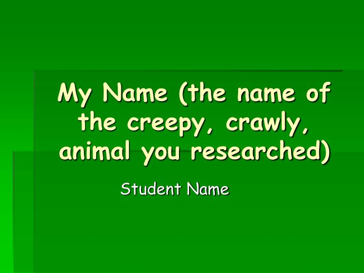 my name the name of the creepy crawly animal you researched n.
