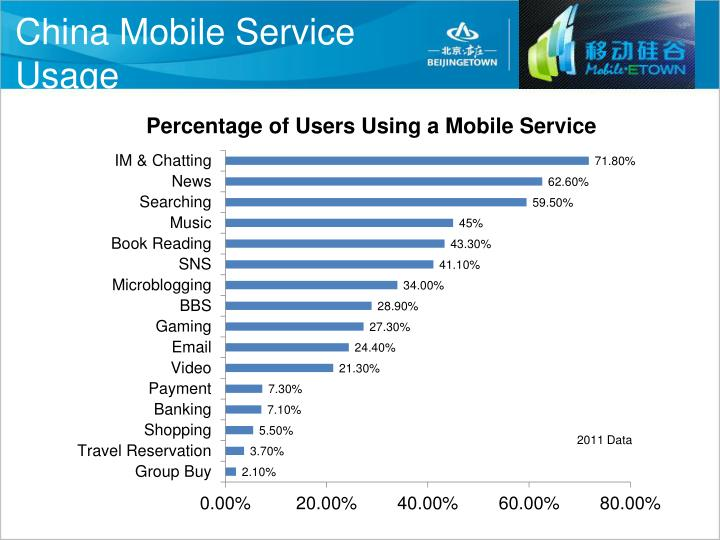 China mobile service usage