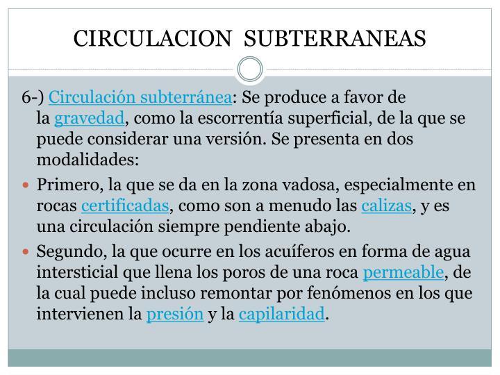 CIRCULACION  SUBTERRANEAS