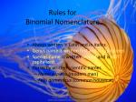 rules for binomial nomenclature