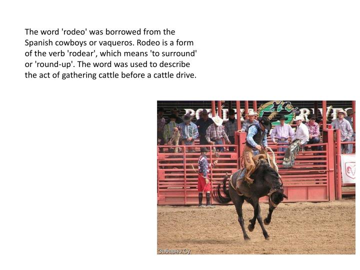 The word 'rodeo' was borrowed from the Spanish cowboys or vaqueros. Rodeo is a form of the verb '