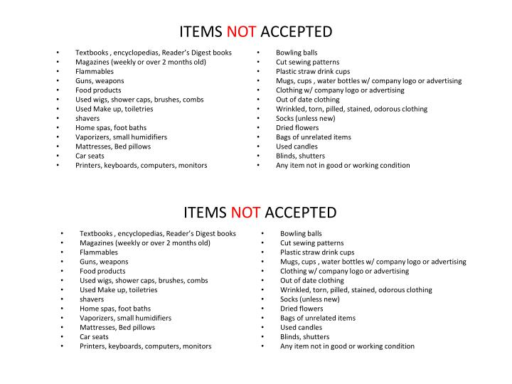 items not accepted n.