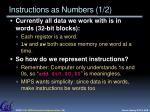 instructions as numbers 1 2