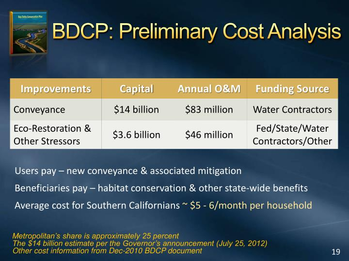 BDCP: Preliminary Cost Analysis
