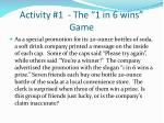 activity 1 the 1 in 6 wins game