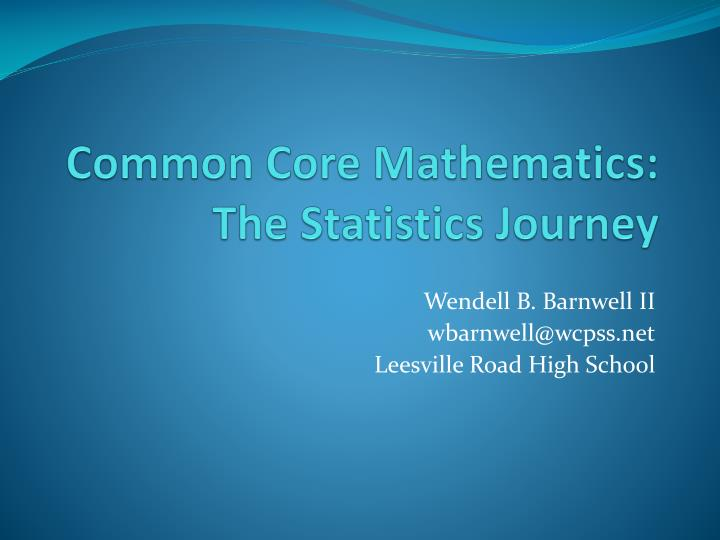 common core mathematics the statistics journey n.