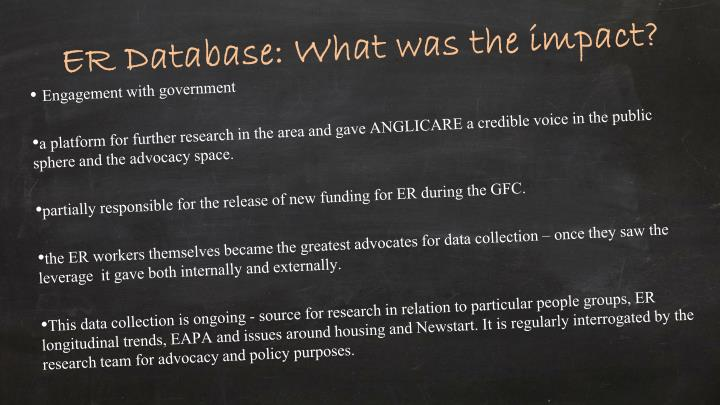 ER Database: What was the impact?