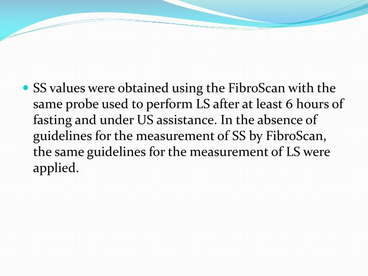 SS values were obtained using the