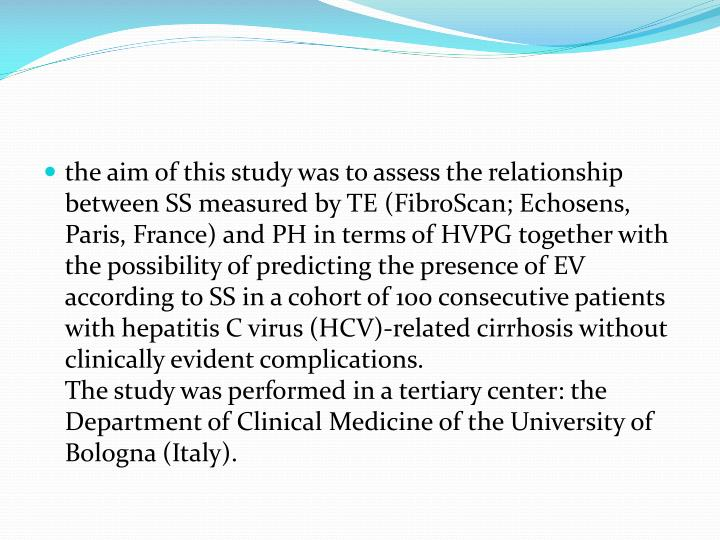 the aim of this study was to assess the relationship between SS measured by TE (