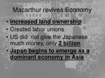 macarthur revives economy