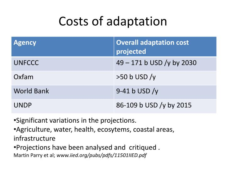 Costs of adaptation