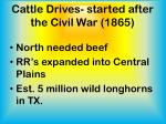 cattle drives started after the civil war 1865