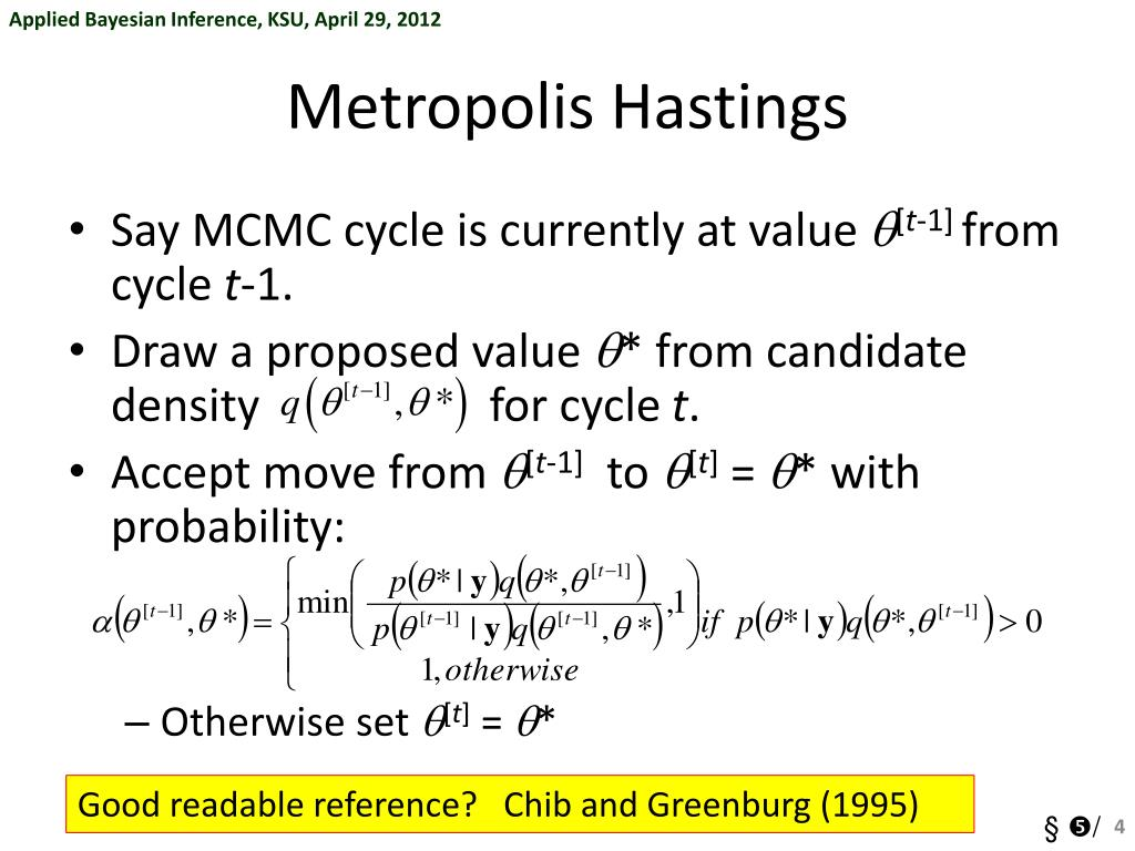 PPT - §➄ Metropolis-Hastings sampling and general MCMC approaches