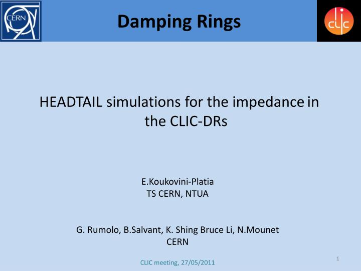 headtail simulations for the impedance in the clic drs n.