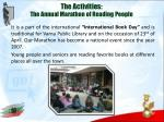 the activities the annual marathon of reading people