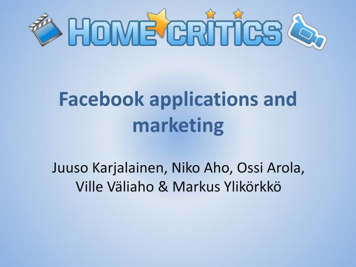 facebook applications and marketing n.