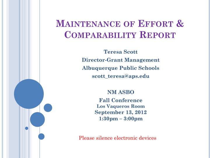 maintenance of effort comparability report n.