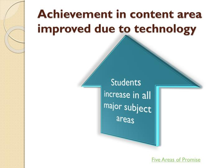 Achievement in content area improved due to technology