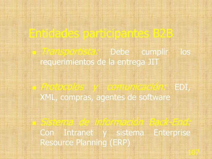 Entidades participantes B2B