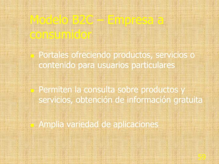 Modelo B2C – Empresa a consumidor