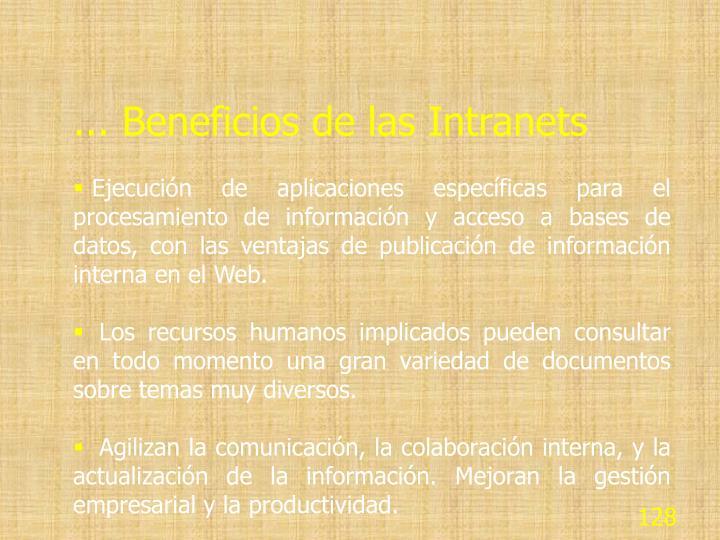 ... Beneficios de las Intranets