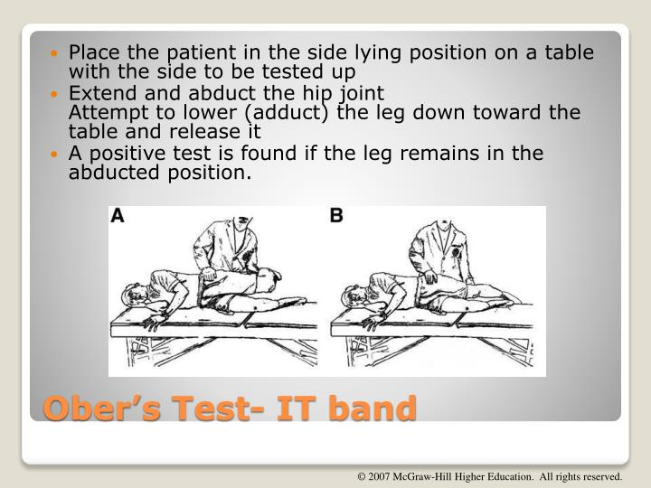 Place the patient in the side lying position on a table with the side to be tested