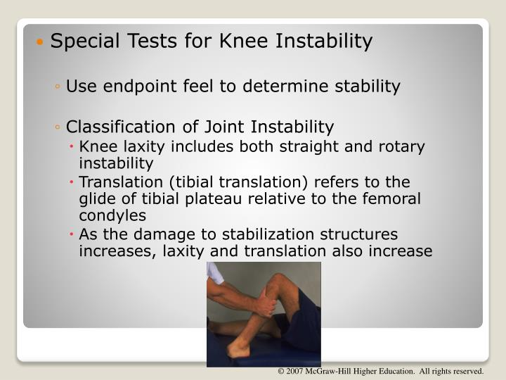 Special Tests for Knee