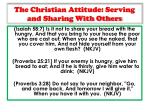 the christian attitude serving and sharing with others