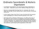ordinatio sacerdotalis mulieris dignitatem