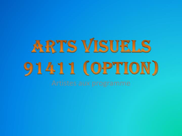 arts visuels 91411 option n.