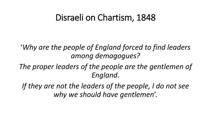 Disraeli on Chartism, 1848