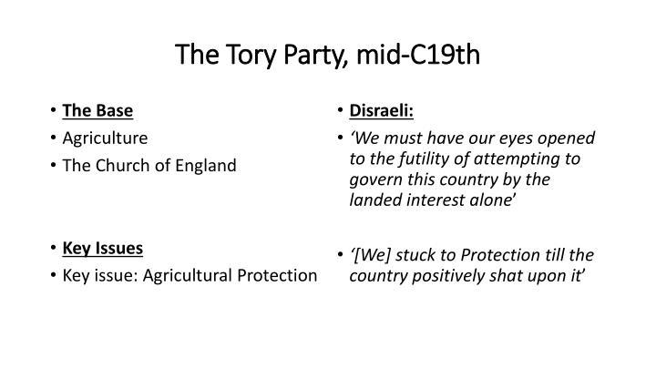 The Tory Party, mid-C19th