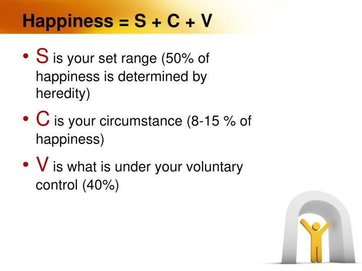 Happiness = S + C + V