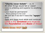 love does not fail