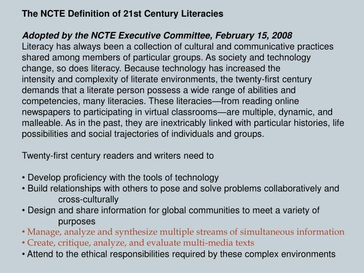 The NCTE Definition of 21st Century