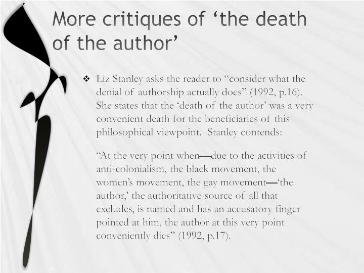 More critiques of 'the death of the author'