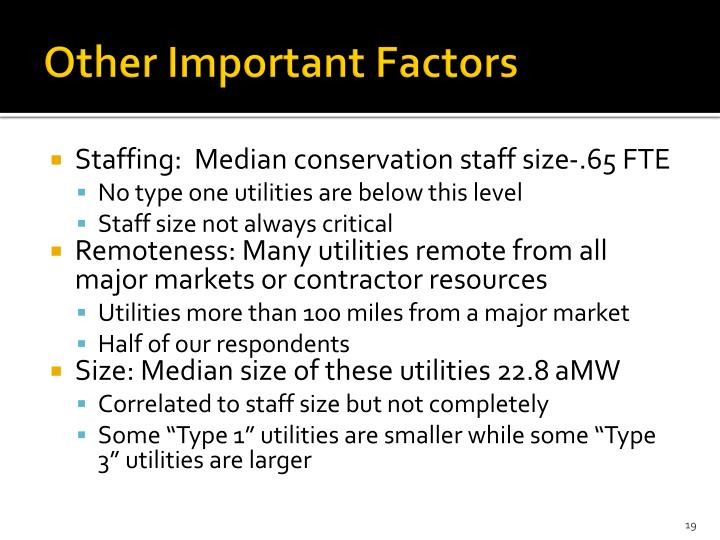 Other Important Factors