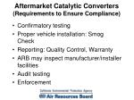 aftermarket catalytic converters requirements to ensure compliance
