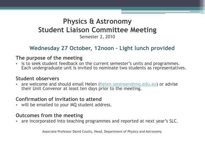 physics astronomy student liaison committee meeting semester 2 2010 n.