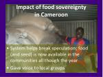 impact of food sovereignty in cameroon
