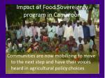 impact of food sovereignty program in cameroon