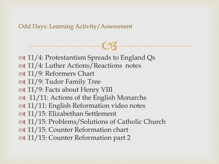 Ppt the protestant reformation powerpoint presentation id2252757 odd days learning activityassessment ccuart Images