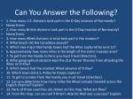 can you answer the following